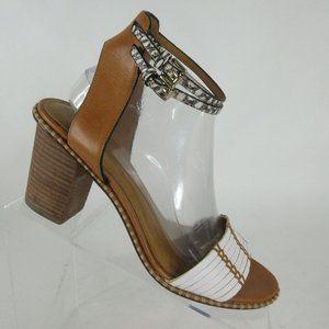 Coach Pexton Chalk/Natural Leather Open Toe Sandal